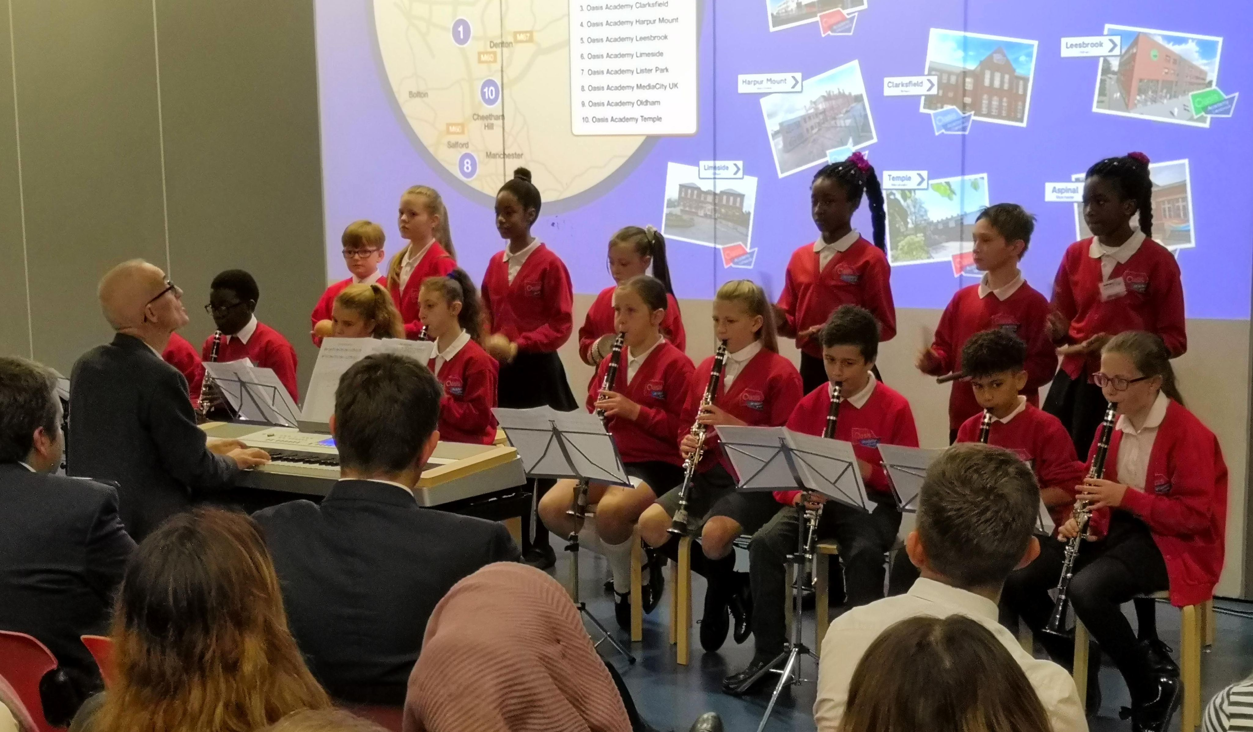 Year 6 clarinet and percussion groups wowed at the Oasis North West Regional Conference.